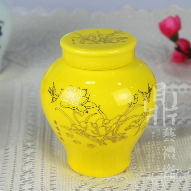 专业生产陶瓷茶叶罐金荷花红釉美人罐小茶叶包装罐