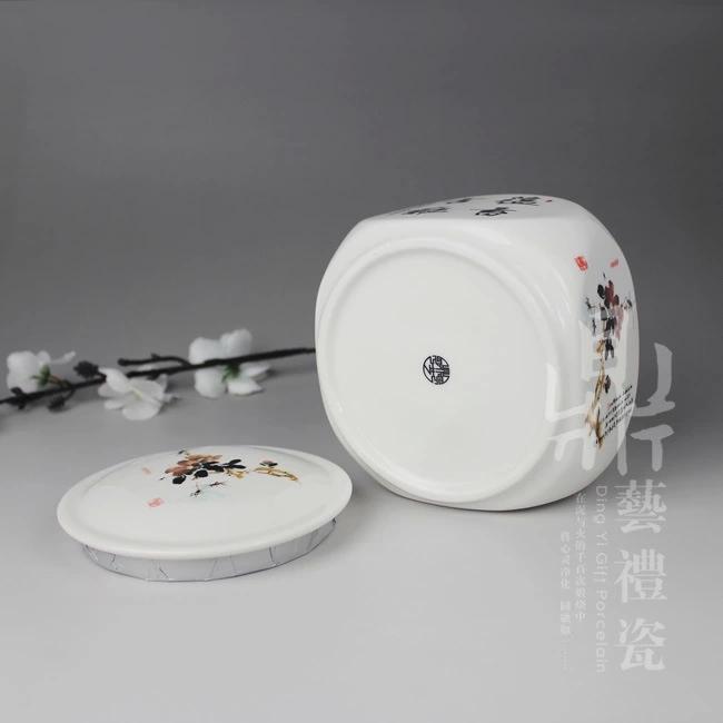 厂家***八方陶瓷茶叶罐大红釉密封罐特价批发