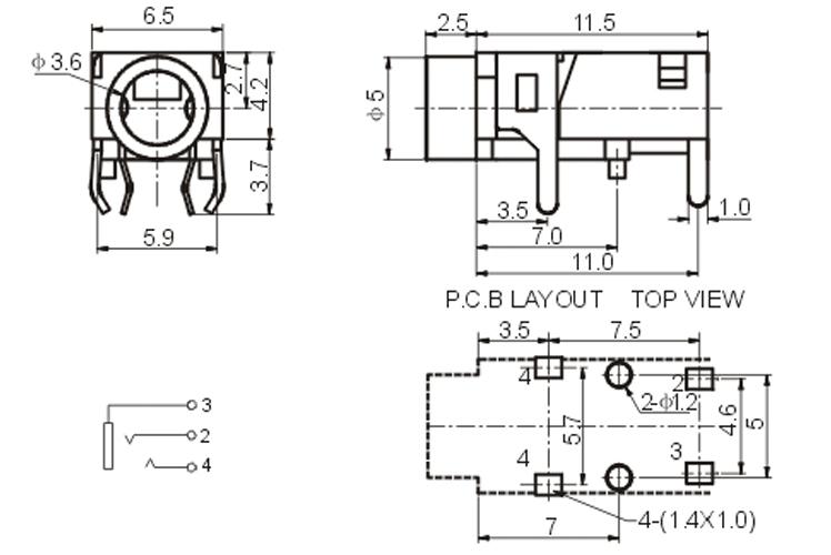 珠海厂家供应耳机插座pj-321,广泛用于平板电脑,血压计等