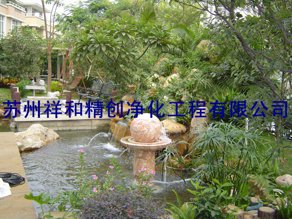 别墅青苔绿藻假山喷泉别墅庭院鱼池
