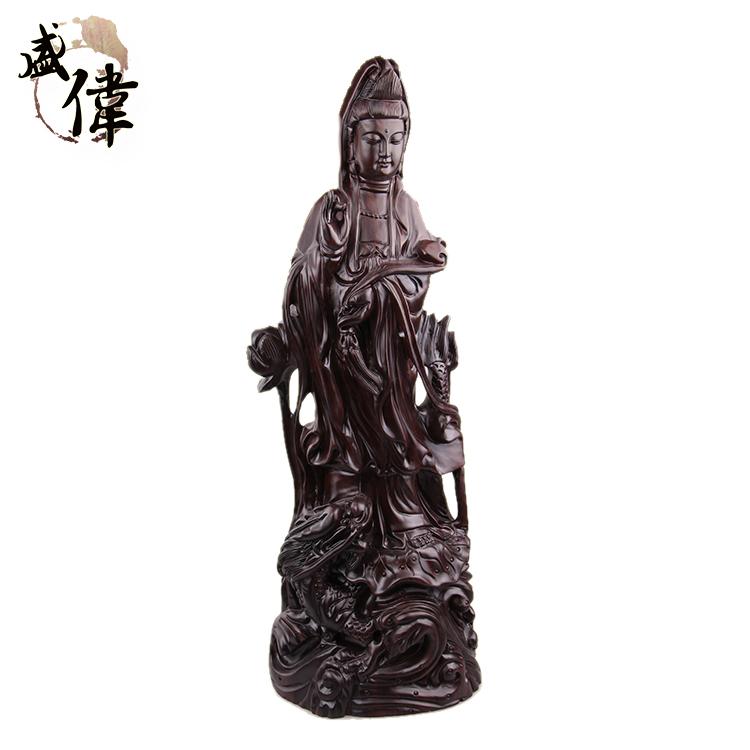 盛伟木制工艺品皮黑木雕观音像工艺摆件福禄平安创意礼品精品