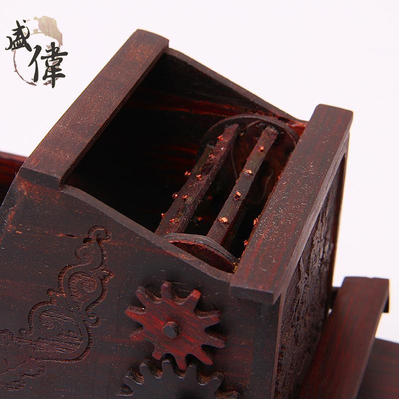 盛伟木雕工艺品电动 打谷机木质手工工艺摆件创意