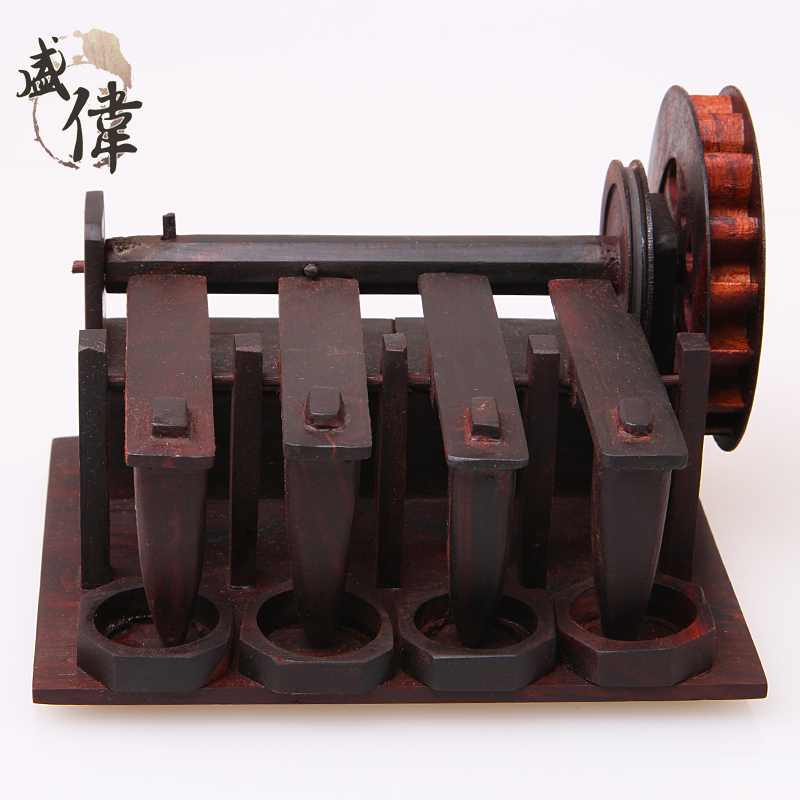 盛伟新品酸枝木质工艺品创意筛谷机纯手工木质摆件