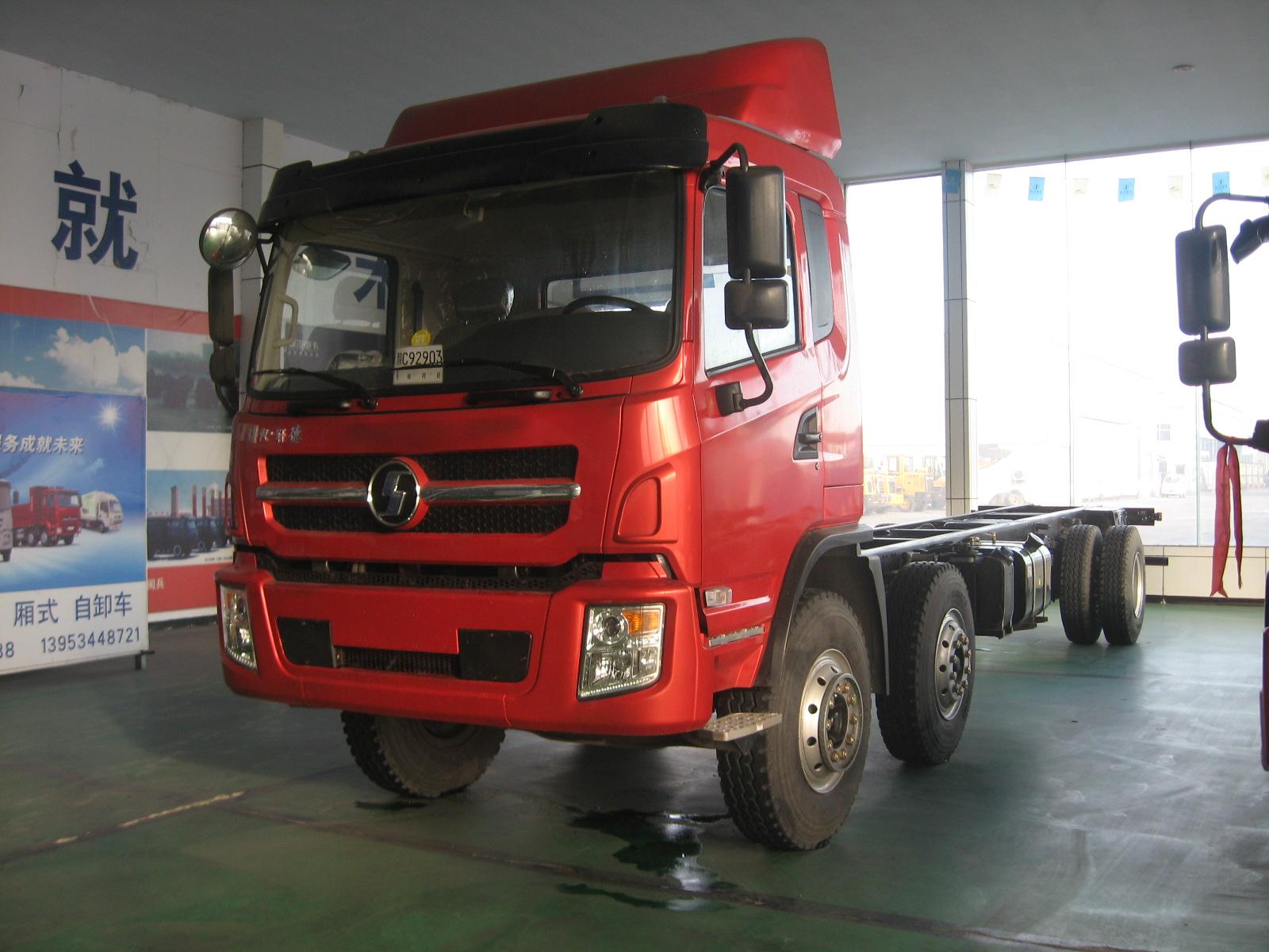 新到轻卡陕汽轩德6系载货车九米六高栏平板厢式货车图片
