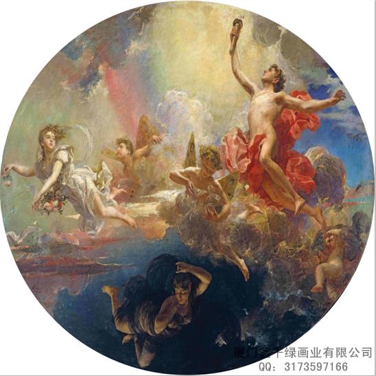 欧式吊顶画丨大型无缝壁画丨厦门装饰画丨厦门背景墙