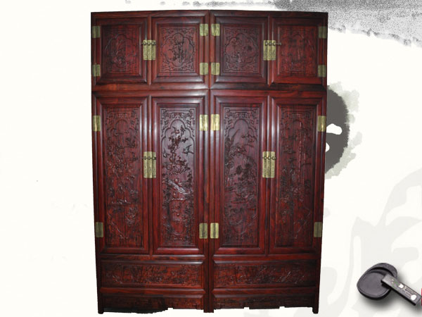 红木家具-梅兰竹菊顶箱柜