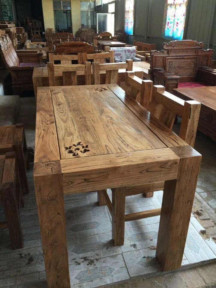 山东韩式古典家具——在哪能买到实惠的韩式老榆木餐桌椅