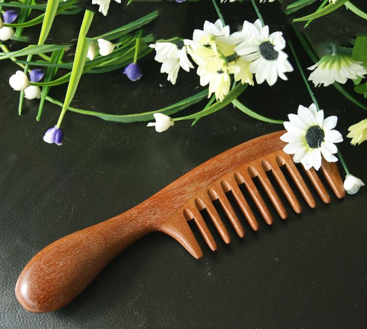 红檀香木梳宽齿梳