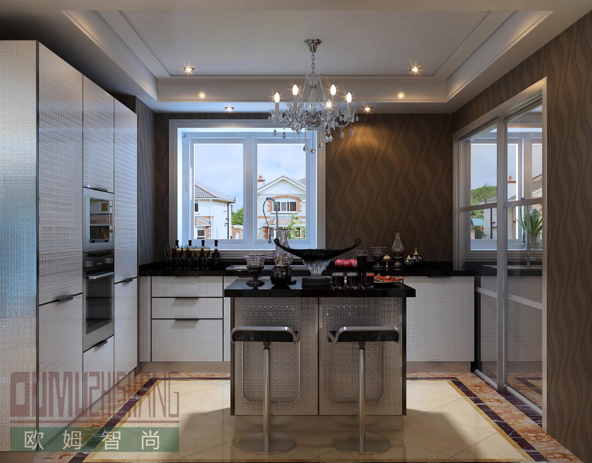 山东爆款现代简约黑白搭配玻璃门板整体橱柜出售-安徽欧式整体橱柜