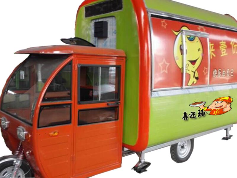 三轮电动房式餐车