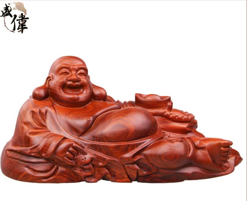 铭盛伟业 非洲花梨弥勒佛像40*17*16cm 木质工艺品家